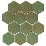 "Clay Arabesque 4"" Hexagon Glazed Ceramic Tile - Light Copper"