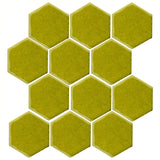 "Clay Arabesque 4"" Hexagon Glazed Ceramic Tile - Lime Green"