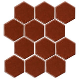"Clay Arabesque 4"" Hexagon Glazed Ceramic Tile - Mahogany"