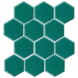 "Clay Arabesque 4"" Hexagon Glazed Ceramic Tile - Mallard Green"