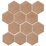 "Clay Arabesque 4"" Hexagon Glazed Ceramic Tile - Mushroom Matte"