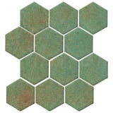 "Clay Arabesque 4"" Hexagon Glazed Ceramic Tile - Patina Matte"