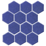 "Clay Arabesque 4"" Hexagon Glazed Ceramic Tile - Periwinkle"