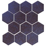 "Clay Arabesque 4"" Hexagon Glazed Ceramic Tile - Persian Blue"
