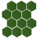 "Clay Arabesque 4"" Hexagon Glazed Ceramic Tile - Pine green"