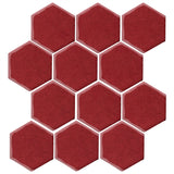 "Clay Arabesque 4"" Hexagon Glazed Ceramic Tile - Plum"