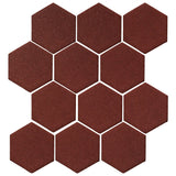 "Clay Arabesque 4"" Hexagon Glazed Ceramic Tile - Pueblo Red"