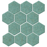 "Clay Arabesque 4"" Hexagon Glazed Ceramic Tile - Sea Foam Green Matte"