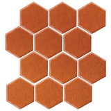 "Clay Arabesque 4"" Hexagon Glazed Ceramic Tile - Spanish Brown"