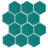 "Clay Arabesque 4"" Hexagon Glazed Ceramic Tile - Teal"