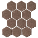 "Clay Arabesque 4"" Hexagon Glazed Ceramic Tile - Winter Gray"