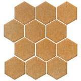 "Clay Arabesque 4"" Hexagon Glazed Ceramic Tile - Yellowstone"