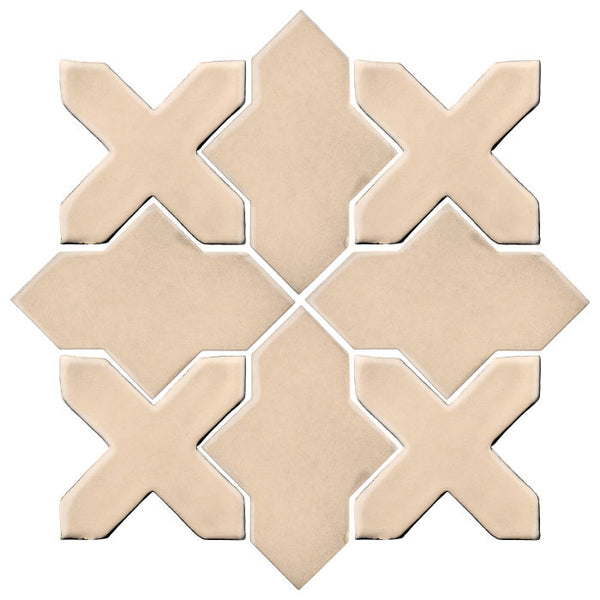 Clay Arabesque Alcazar Glazed Ceramic Tile - Almond
