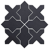 Clay Arabesque Alcazar Glazed Ceramic Tile - Black Diamond