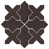 Clay Arabesque Alcazar Glazed Ceramic Tile - Charcoal Matte