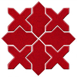 Clay Arabesque Alcazar Glazed Ceramic Tile - Cherry Red