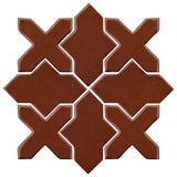 Clay Arabesque Alcazar Glazed Ceramic Tile - Cinnamon