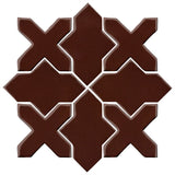 Clay Arabesque Alcazar Glazed Ceramic Tile - Dark roast