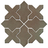 Clay Arabesque Alcazar Glazed Ceramic Tile - Elder Green