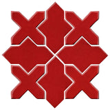 Clay Arabesque Alcazar Glazed Ceramic Tile - Fire Engine Red