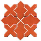 Clay Arabesque Alcazar Glazed Ceramic Tile - Hazard Orange