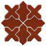 Clay Arabesque Alcazar Glazed Ceramic Tile - Mahogany