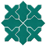 Clay Arabesque Alcazar Glazed Ceramic Tile - Mallard Green