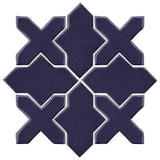 Clay Arabesque Alcazar Glazed Ceramic Tile - Midnight Blue