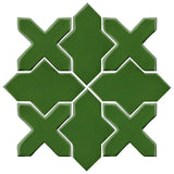 Clay Arabesque Alcazar Glazed Ceramic Tile - Pine Green