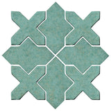 Clay Arabesque Alcazar Glazed Ceramic Tile - Sea Foam Green Matte