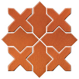 Clay Arabesque Alcazar Glazed Ceramic Tile - Spanish Brown