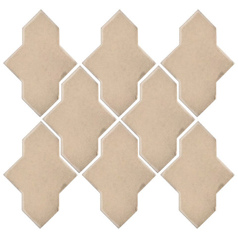 Clay Arabesque Castille Glazed Ceramic Tile - Almond