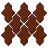 Clay Arabesque Castille Glazed Ceramic Tile - Cinnamon