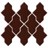 Clay Arabesque Castille Glazed Ceramic Tile - Dark Roast