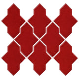 Clay Arabesque Castille Glazed Ceramic Tile - Fire Engine Red