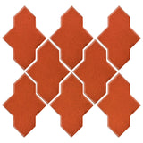 Clay Arabesque Castille Glazed Ceramic Tile - Hazard Orange