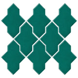 Clay Arabesque Castille Glazed Ceramic Tile - Mallard Green
