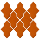 Clay Arabesque Castille Glazed Ceramic Tile - Nutmeg