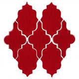Clay Arabesque Leon Ceramic Tile - Cherry Red