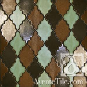 Clay Arabesque Leon Glazed Ceramic Tile in three colors