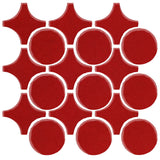 Clay Arabesque Sintra Glazed Ceramic Tile - Fire Engine Red