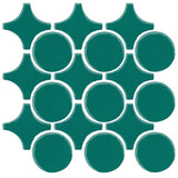 Clay Arabesque Sintra Glazed Ceramic Tile - Mallard Green