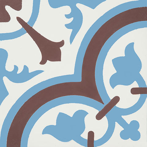 Classic Cluny D Encaustic Cement Tile in Blue, Chocolate and White