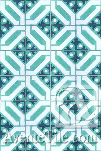 Cuban Heritage Design 100 3B Encaustic Cement Tile Rug