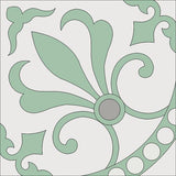 "Cuban Heritage Design 230 Encaustic Cement Tile - 8""x8"" Misty Jade Colorway"
