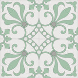 Cuban Heritage Design 230 Encaustic Cement Tile Quarter Design Misty Jade Colorway