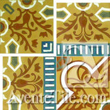 "Cuban Heritage Design 110 3B Inside Corner 8"" x 8"" Encaustic Cement Tile"