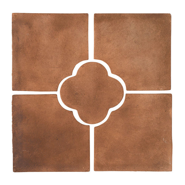 "Daisy Deco Rustic Relief Deco Tile 8""x8"" - Cotto Dark"