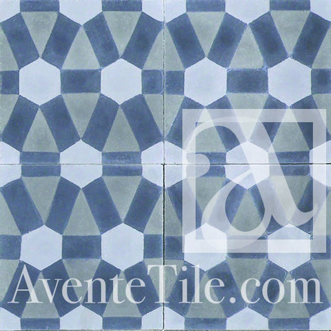 "Geometric Diamond Encaustic Cement Tile 8""x8"""