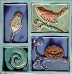 "Birds & Nests Bird Over Nest 8"" x 8"" Hand Painted Ceramic Tile"